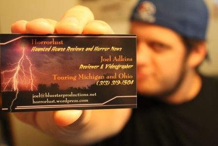 The official Horrorlust business card. Coming soon to a haunt near you!