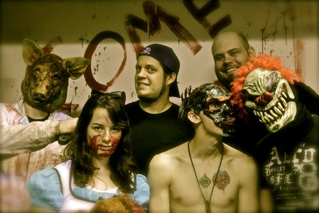Ryan and I pose with the deranged lot from Bloodbath on Biddle