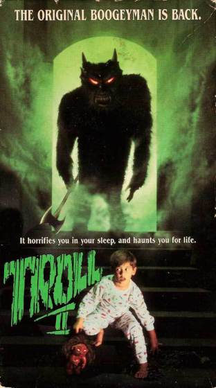 Even the VHS cover art struggled with continuity -- that's a werewolf on the box art of a film called Troll 2 which featured goblins...not trolls.